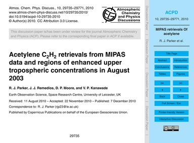 Acetylene C2H2 Retrievals from Mipas Dat... by Parker, R. J.