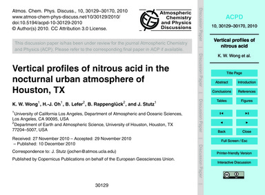 Vertical Profiles of Nitrous Acid in the... by Wong, K. W.