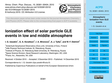 Ionization Effect of Solar Particle Gle ... by Usoskin, I. G.