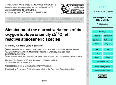 Simulation of the Diurnal Variations of ... by Morin, S.