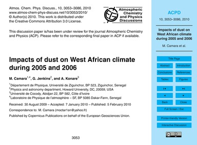 Impacts of Dust on West African Climate ... by Camara, M.