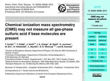 Chemical Ionization Mass Spectrometry (C... by Kurtén, T.