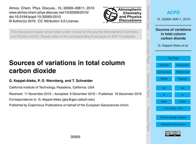 Sources of Variations in Total Column Ca... by Keppel-aleks, G.