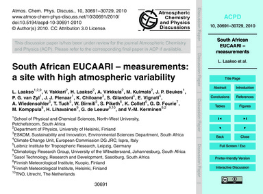 South African Eucaari – Measurements: a ... by Laakso, L.