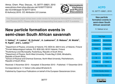 New Particle Formation Events in Semi-cl... by Vakkari, V.
