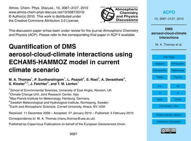 Quantification of Dms Aerosol-cloud-clim... by Thomas, M. A.