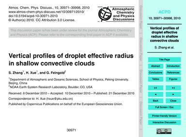 Vertical Profiles of Droplet Effective R... by Zhang, S.