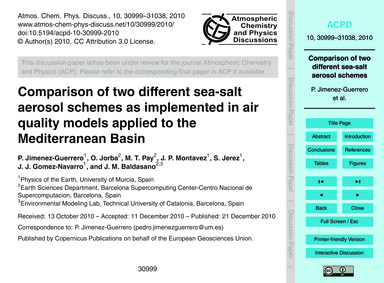 Comparison of Two Different Sea-salt Aer... by Jimenez-guerrero, P.