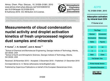 Measurements of Cloud Condensation Nucle... by Kumar, P.