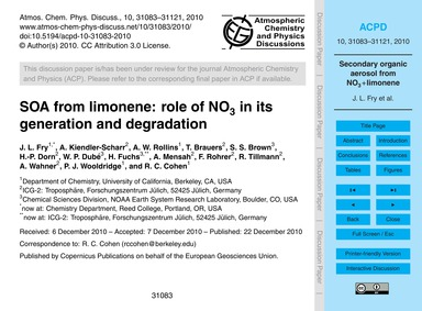 Soa from Limonene: Role of No3 in Its Ge... by Fry, J. L.