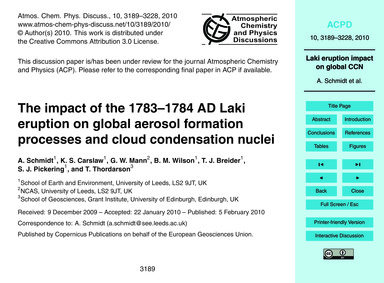 The Impact of the 1783–1784 Ad Laki Erup... by Schmidt, A.