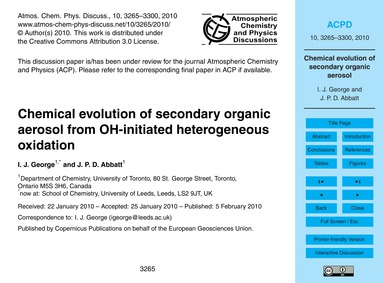 Chemical Evolution of Secondary Organic ... by George, I. J.