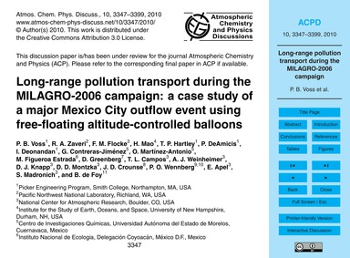Long-range Pollution Transport During th... by Voss, P. B.