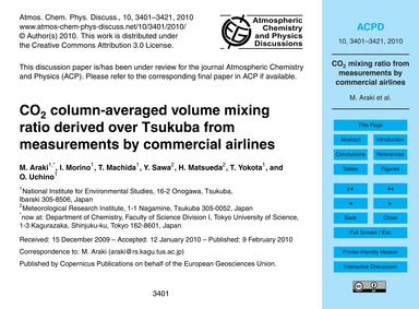 Co2 Column-averaged Volume Mixing Ratio ... by Araki, M.