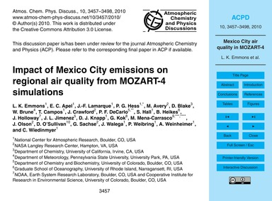 Impact of Mexico City Emissions on Regio... by Emmons, L. K.