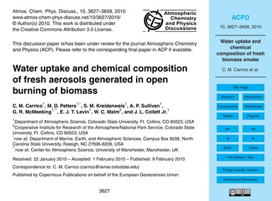 Water Uptake and Chemical Composition of... by Carrico, C. M.