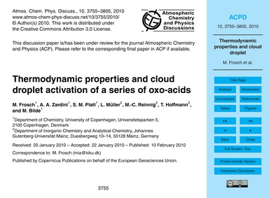 Thermodynamic Properties and Cloud Dropl... by Frosch, M.