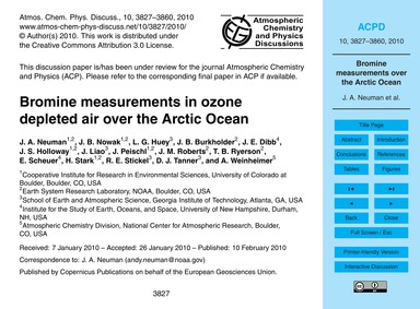 Bromine Measurements in Ozone Depleted A... by Neuman, J. A.