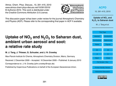 Uptake of No3 and N2O5 to Saharan Dust, ... by Tang, M. J.
