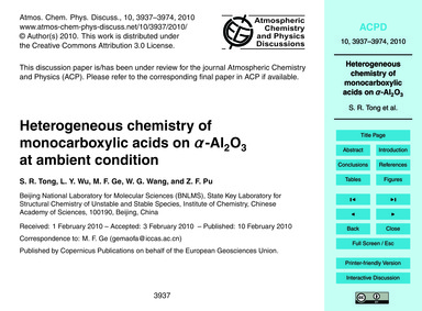 Heterogeneous Chemistry of Monocarboxyli... by Tong, S. R.