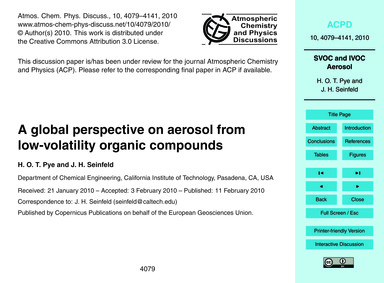 A Global Perspective on Aerosol from Low... by Pye, H. O. T.