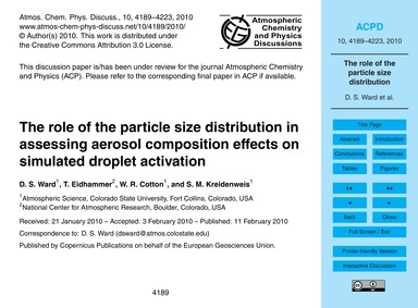 The Role of the Particle Size Distributi... by Ward, D. S.