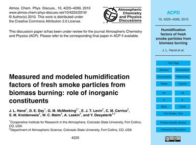 Measured and Modeled Humidification Fact... by Hand, J. L.