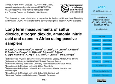 Long Term Measurements of Sulfur Dioxide... by Adon, M.