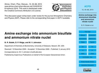 Amine Exchange Into Ammonium Bisulfate a... by Bzdek, B. R.