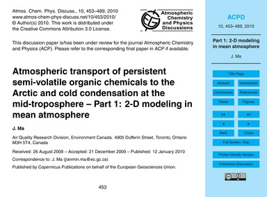 Atmospheric Transport of Persistent Semi... by Ma, J.