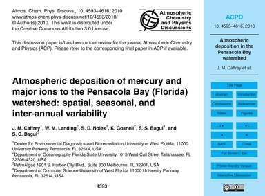 Atmospheric Deposition of Mercury and Ma... by Caffrey, J. M.