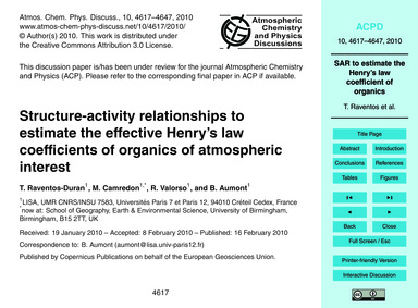 Structure-activity Relationships to Esti... by Raventos-duran, T.