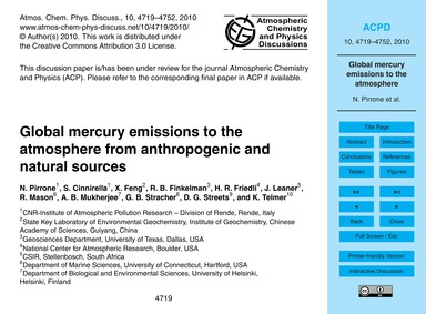 Global Mercury Emissions to the Atmosphe... by Pirrone, N.