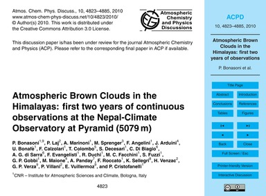 Atmospheric Brown Clouds in the Himalaya... by Bonasoni, P.