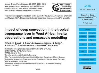 Impact of Deep Convection in the Tropica... by Fierli, F.