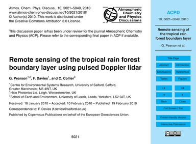Remote Sensing of the Tropical Rain Fore... by Pearson, G.