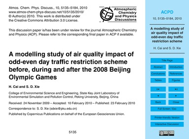 A Modelling Study of Air Quality Impact ... by Cai, H.