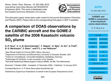 A Comparison of Doas Observations by the... by Heue, K.-p.