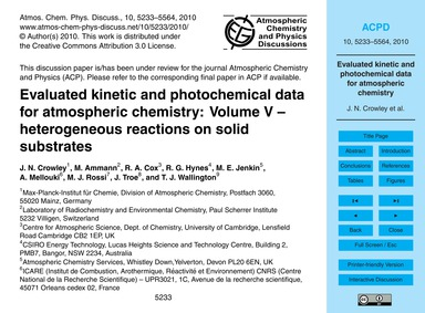 Evaluated Kinetic and Photochemical Data... by Crowley, J. N.