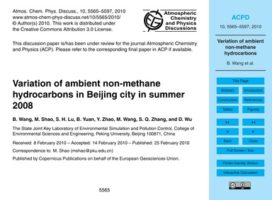 Variation of Ambient Non-methane Hydroca... by Wang, B.