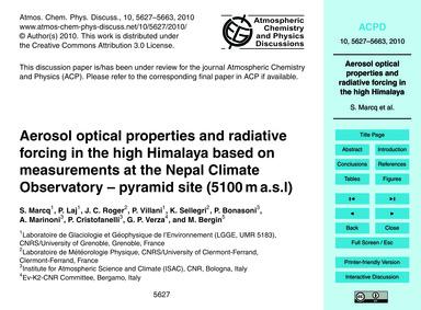 Aerosol Optical Properties and Radiative... by Marcq, S.
