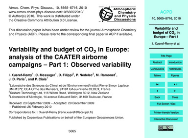 Variability and Budget of Co2 in Europe:... by Xueref-remy, I.