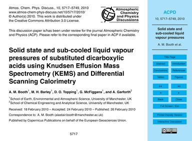 Solid State and Sub-cooled Liquid Vapour... by Booth, A. M.