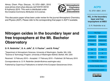 Nitrogen Oxides in the Boundary Layer an... by Reidmiller, D. R.