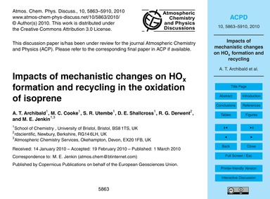 Impacts of Mechanistic Changes on HoX Fo... by Archibald, A. T.