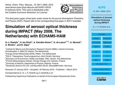 Simulation of Aerosol Optical Thickness ... by Roelofs, G.-j.