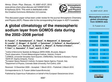 A Global Climatology of the Mesospheric ... by Fussen, D.