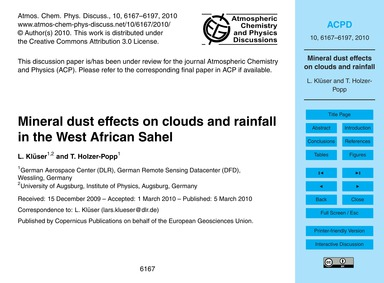 Mineral Dust Effects on Clouds and Rainf... by Klüser, L.