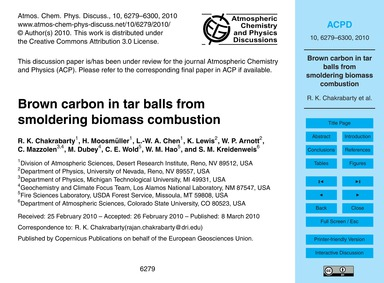 Brown Carbon in Tar Balls from Smolderin... by Chakrabarty, R. K.