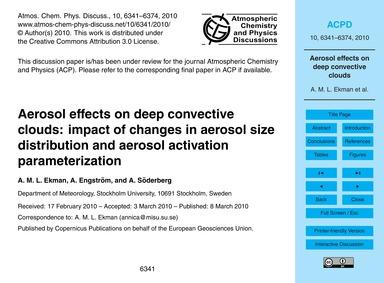 Aerosol Effects on Deep Convective Cloud... by Ekman, A. M. L.